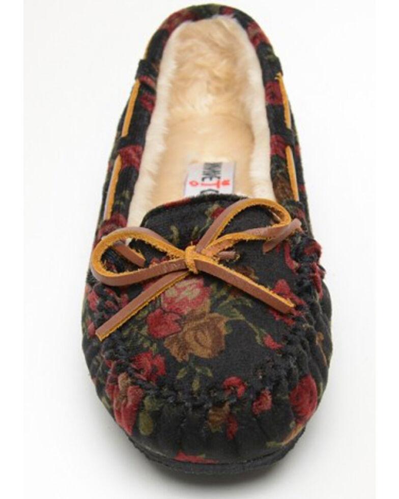 Minnetonka Women's Velvet Cally Floral Suede Moccasins - Moc Toe, Multi, hi-res