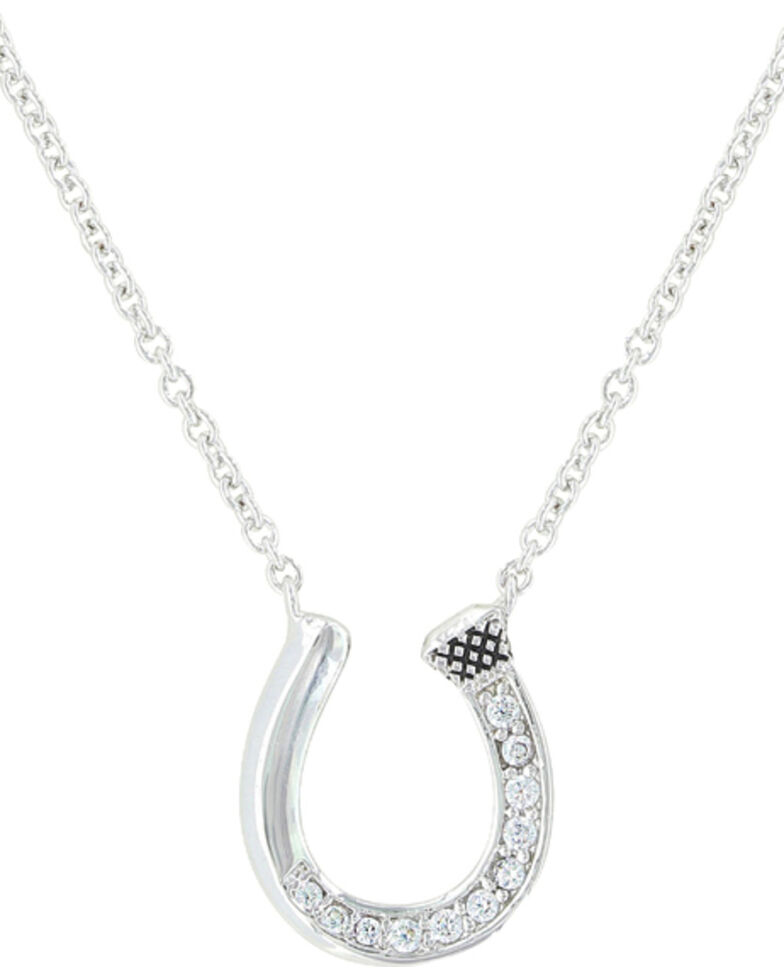 Montana Silversmiths Women's Single Path Horseshoe Necklace , Silver, hi-res