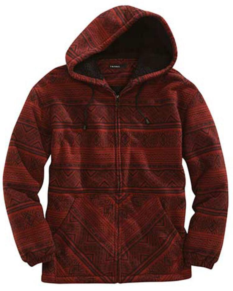 Tin Haul Men's Red Aztec Polar Fleece Zip Front Jacket, Red, hi-res