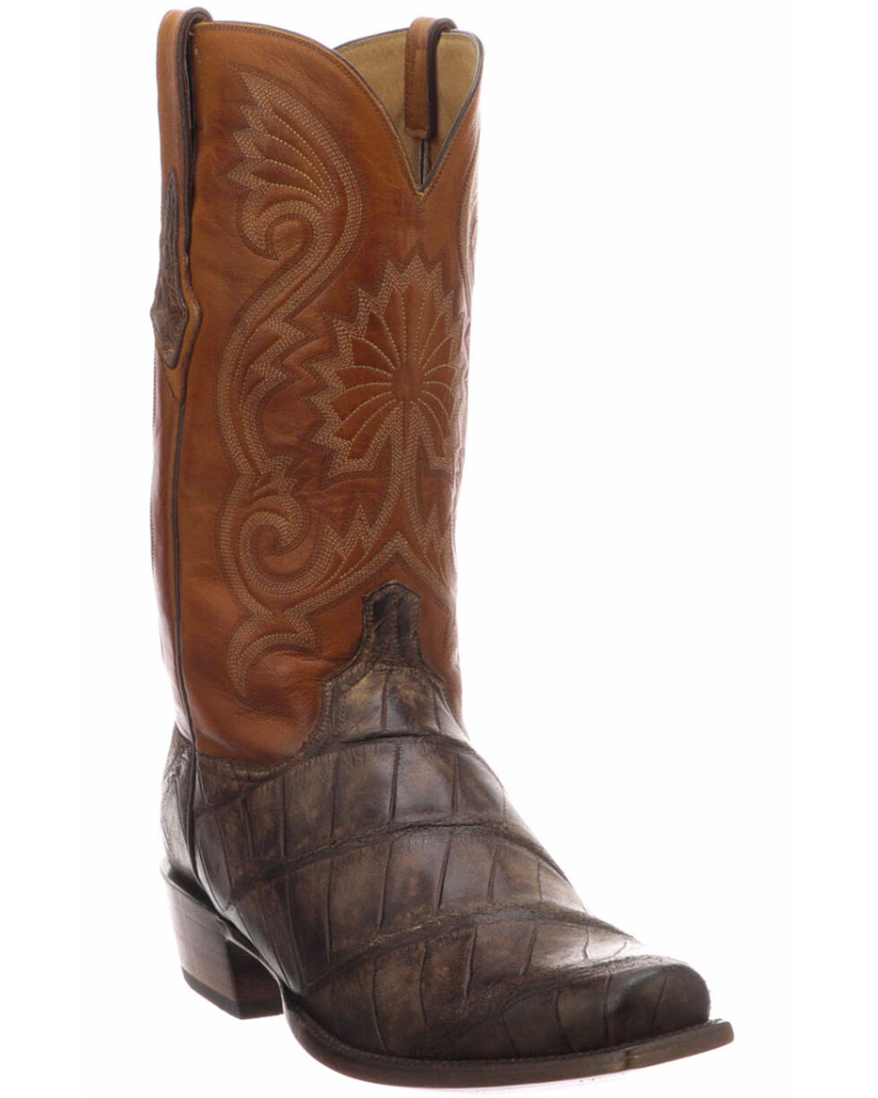 Lucchese Men's Rio Chocolate/Cognac Giant Gator Western Boots - Snip Toe , Chocolate, hi-res