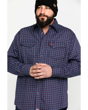 Ariat Men's FR Plainview Checkered Print Long Sleeve Work Shirt , Navy, hi-res