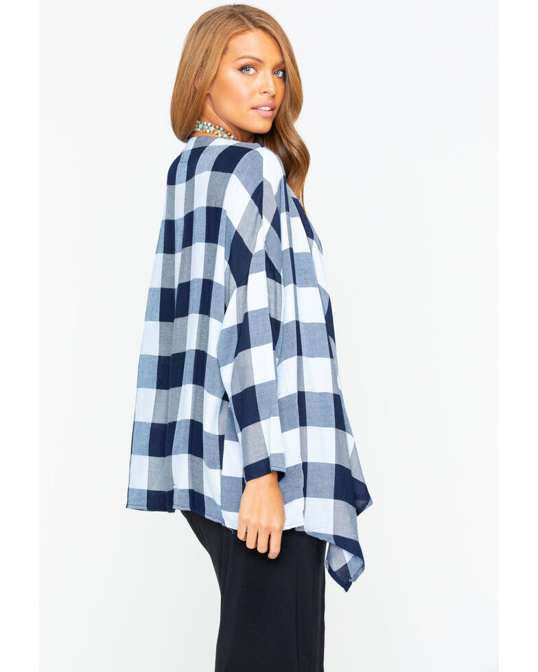 Ivory Love Women's Buffalo Plaid Drape Front Kimono , Navy, hi-res
