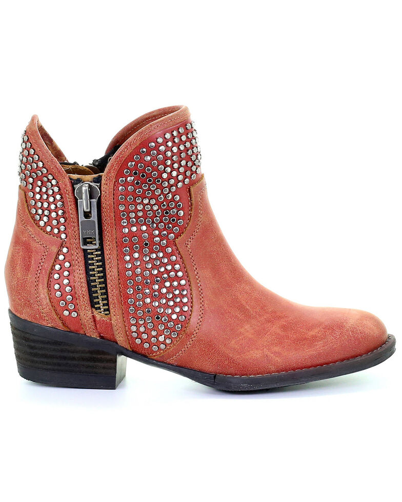 Circle G Women's Orange-Red Studded Booties - Round Toe, Orange, hi-res