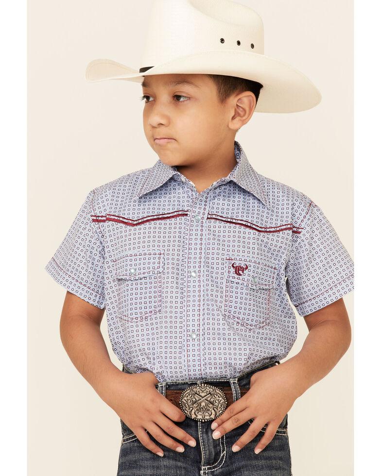 Cowboy Hardware Boys' Aqua Square Geo Print Short Sleeve Snap Western Shirt , Aqua, hi-res