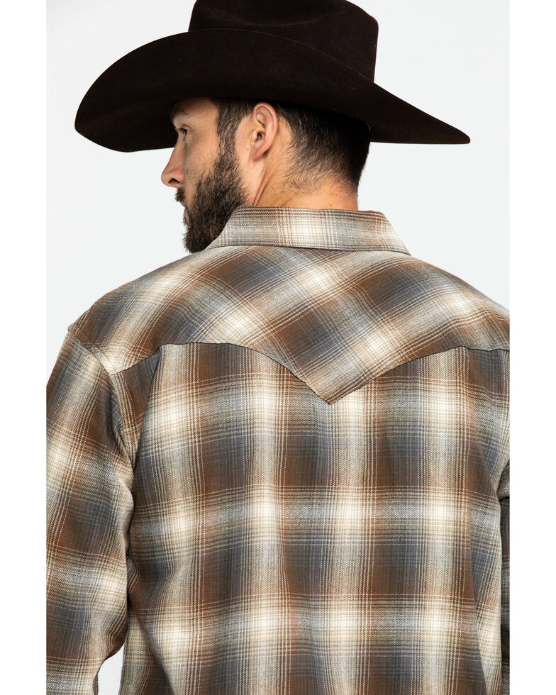 Resistol Men's Richland Ombre Plaid Long Sleeve Western Shirt , Lt Brown, hi-res