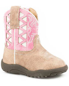 Roper Infant Girls' Askook Western Boots - Round Toe, Pink, hi-res