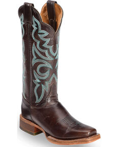"Justin Bent Rail Women's 13"" Katia Torino Brown Cowgirl Boots  - Square Toe, Brown, hi-res"