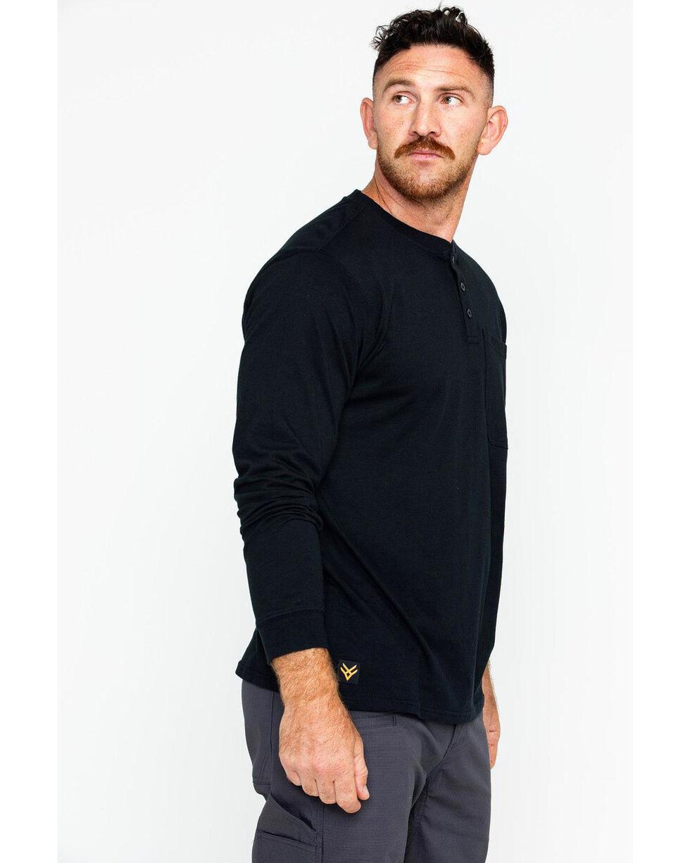 Hawx Men's Pocket Henley Work Shirt - Big & Tall , Black, hi-res