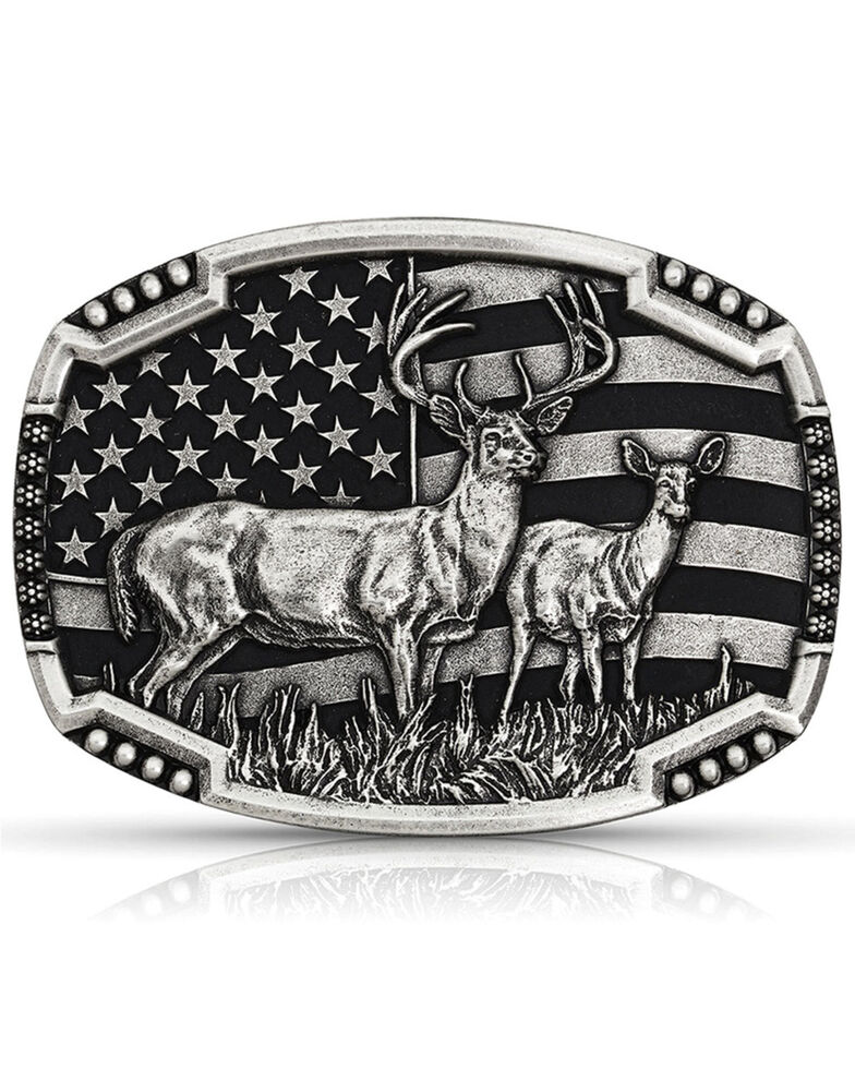 Montana Silversmiths Men's Matched Pair Deer Buckle, Silver, hi-res