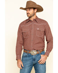 Cowboy Hardware Men's Rust Snowflake Geo Print Long Sleeve Western Shirt , Rust Copper, hi-res