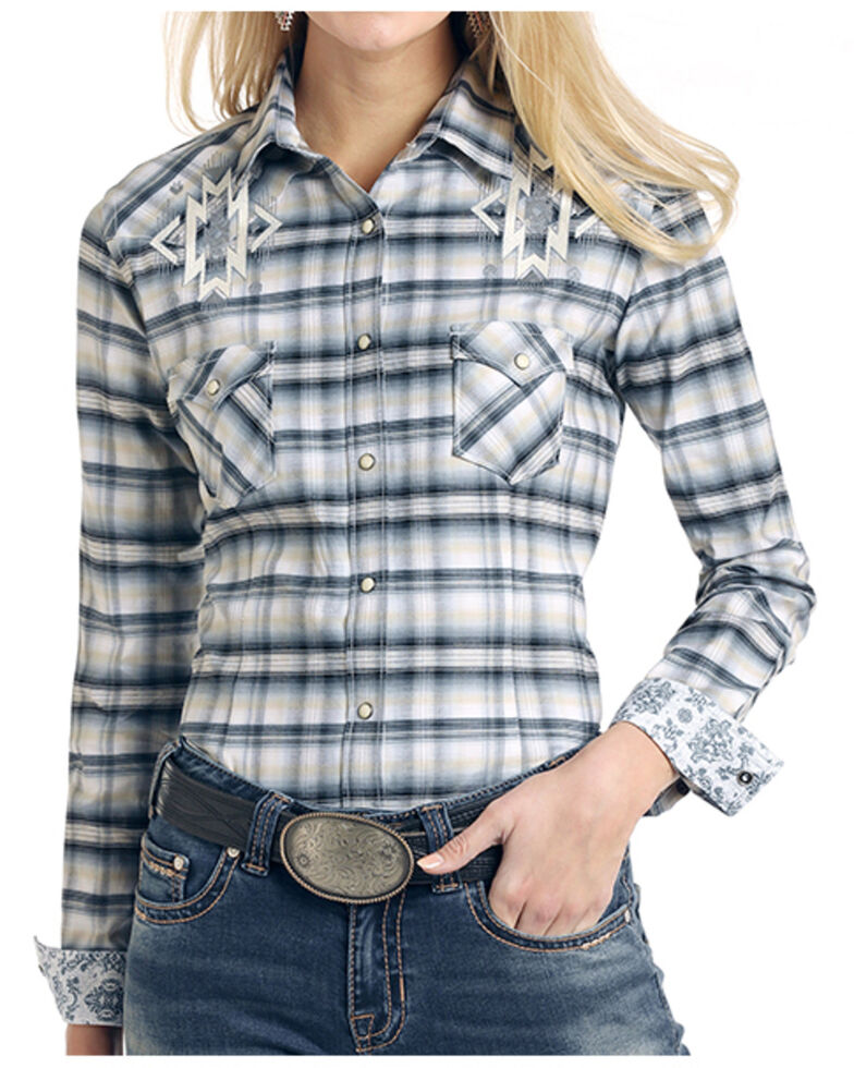 Panhandle Women's Charter Oak Ombre Plaid Embroidered Long Sleeve Western Shirt , White, hi-res