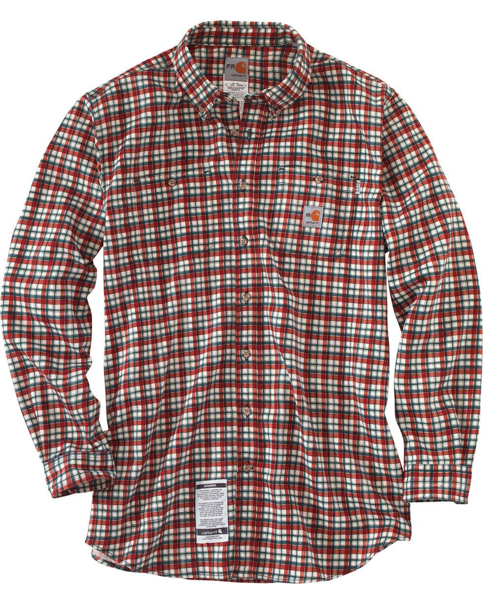 Carhartt Men's Flame Resistant Dark Red Classic Plaid Shirt - Big & Tall, Dark Red, hi-res