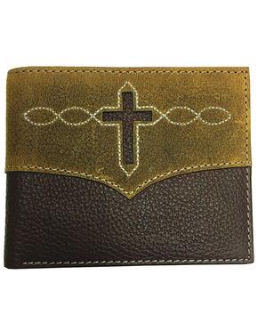 Roper Men's Brown Leather Cross Cut-Out Passcase Wallet , Brown, hi-res