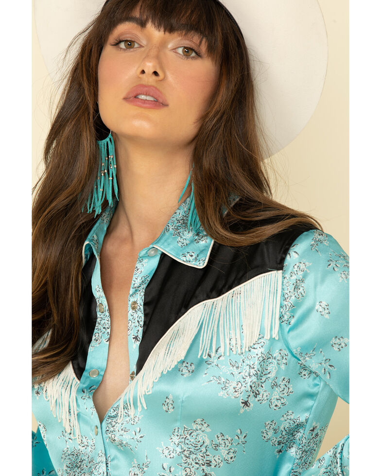 White Label by Panhandle Women's Turquoise Floral Fringe Long Sleeve Western Shirt , Turquoise, hi-res