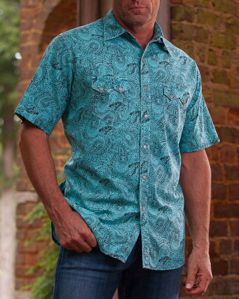 Ryan Michael Men's Distressed Paisley Short Sleeve Shirt , Light Blue, hi-res