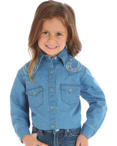 Wrangler Girls' Blue Horseshoe Embroidered Shirt , Blue, hi-res