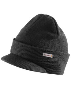 Carhartt Men's Black Knit Visor Beanie, Black/white, hi-res