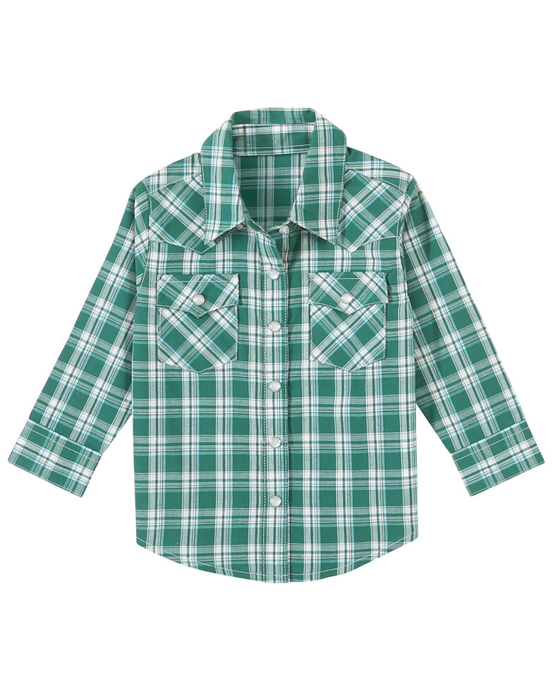 Wrangler Toddler Boys' Turquoise Plaid Long Sleeve Western Shirt , Turquoise, hi-res