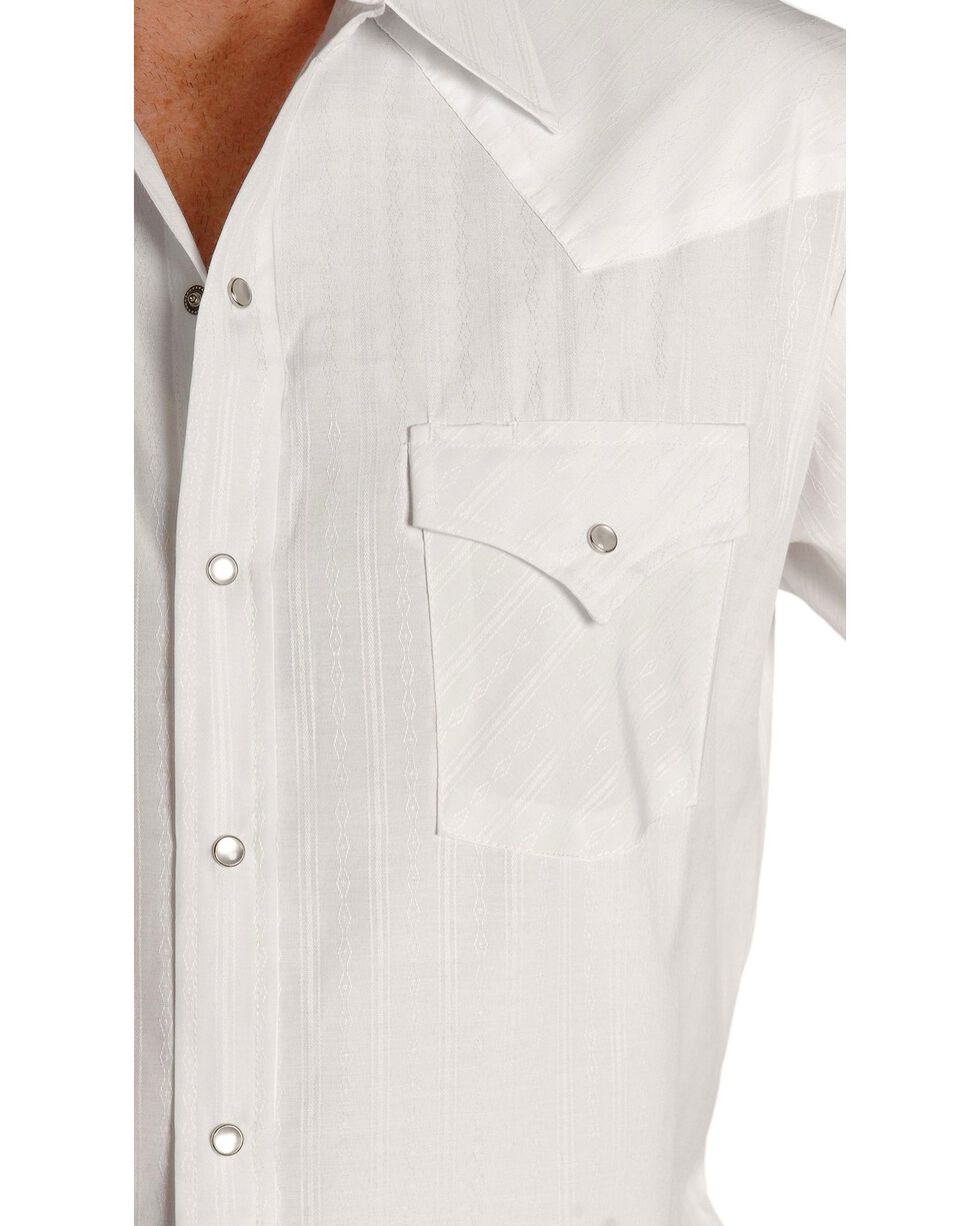 Ely Cattleman Men's Tone On Tone Western Shirt, White, hi-res
