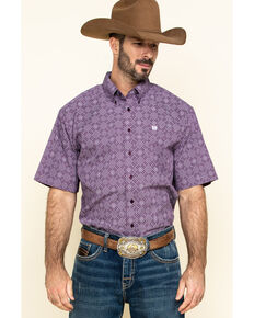 Cinch Men's Purple Diamond Geo Print Button Short Sleeve Western Shirt , Purple, hi-res