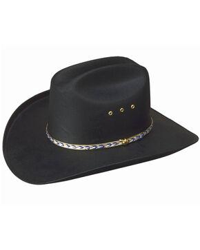 Western Express Boys' Black Waterproof Canvas Cowboy Hat, Black, hi-res
