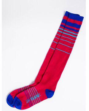 Shyanne Women's Stripe Performance Socks, Burgundy, hi-res