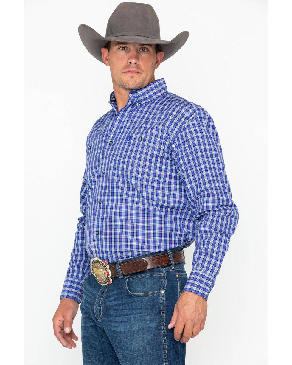 George Strait by Wrangler Men's Blue & White Plaid Long Sleeve Western Shirt, Blue/white, hi-res