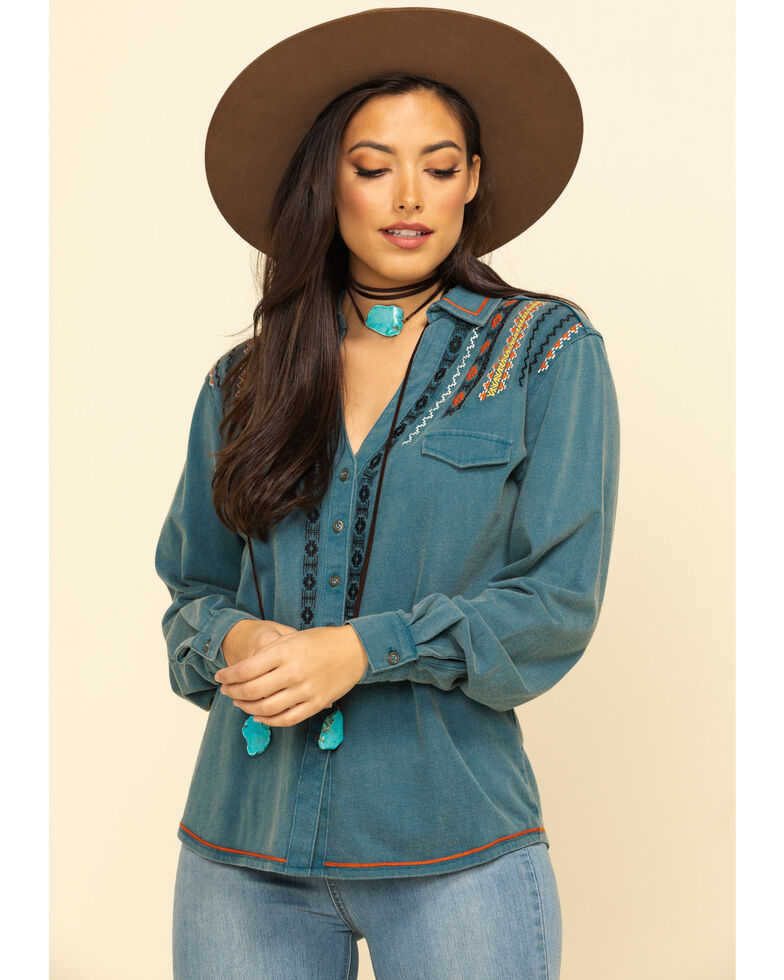 White Label by Panhandle Women's Denim Embroidered Long Sleeve Top, , hi-res
