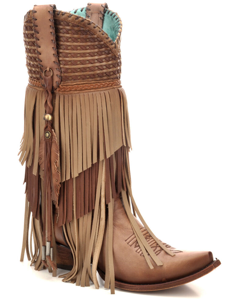 Corral Women's Taupe Studs & Fringe Western Boots - Snip Toe, Taupe, hi-res