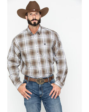 Cinch Men's Brown Plaid Long Sleeve Button Down Shirt, Brown, hi-res