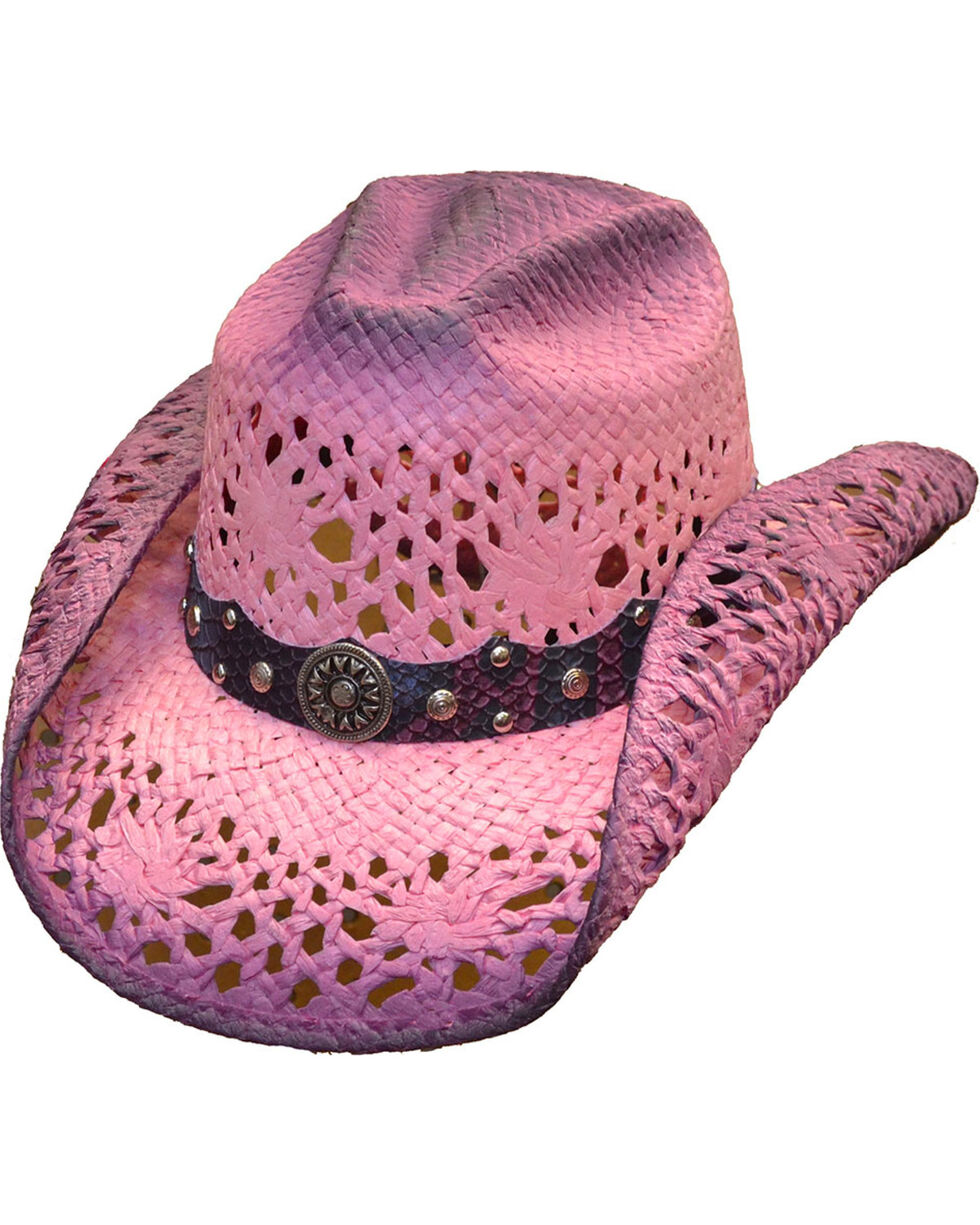 Western Express Women's Hot Pink Straw Hat, Hot Pink, hi-res