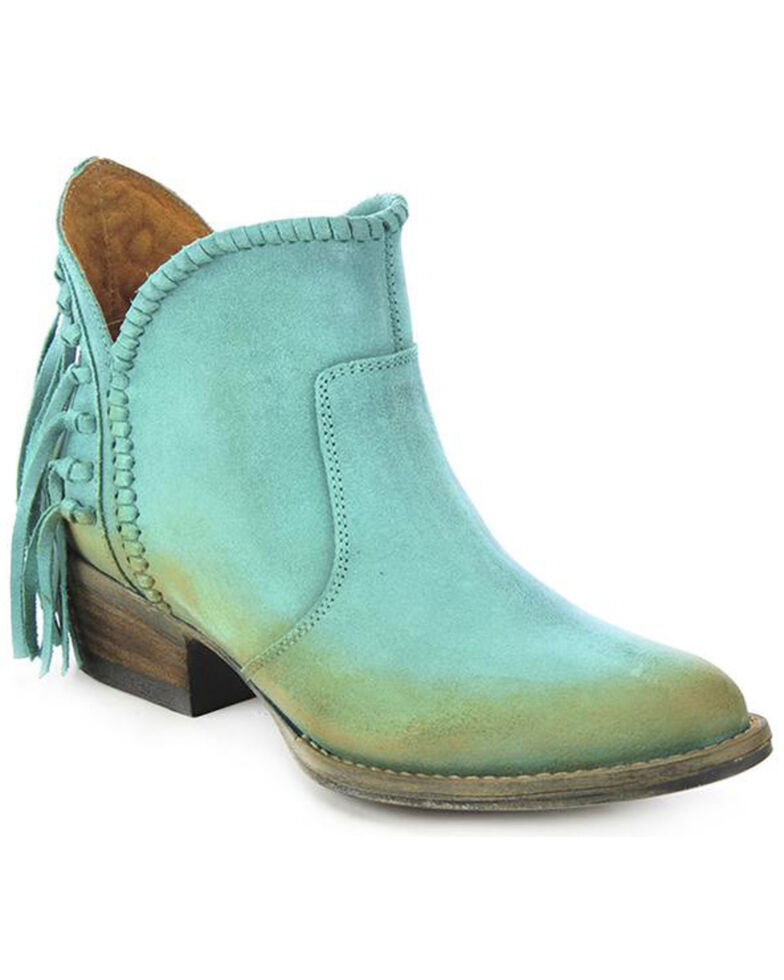 Circle G Women's Fringe Fashion Booties, Turquoise, hi-res