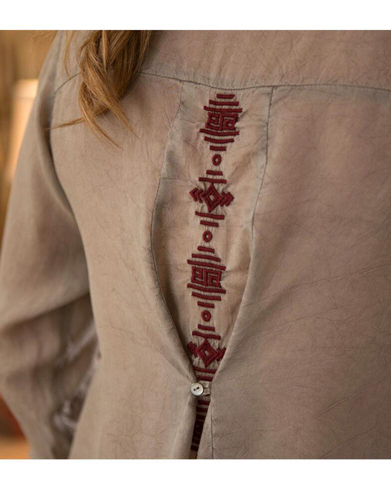 Ryan Michael Women's Embroidered Cupra Rayon Top , Grey, hi-res