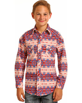 Rock & Roll Cowboy Boys' Aztec Print Long Sleeve Snap Shirt, Multi, hi-res