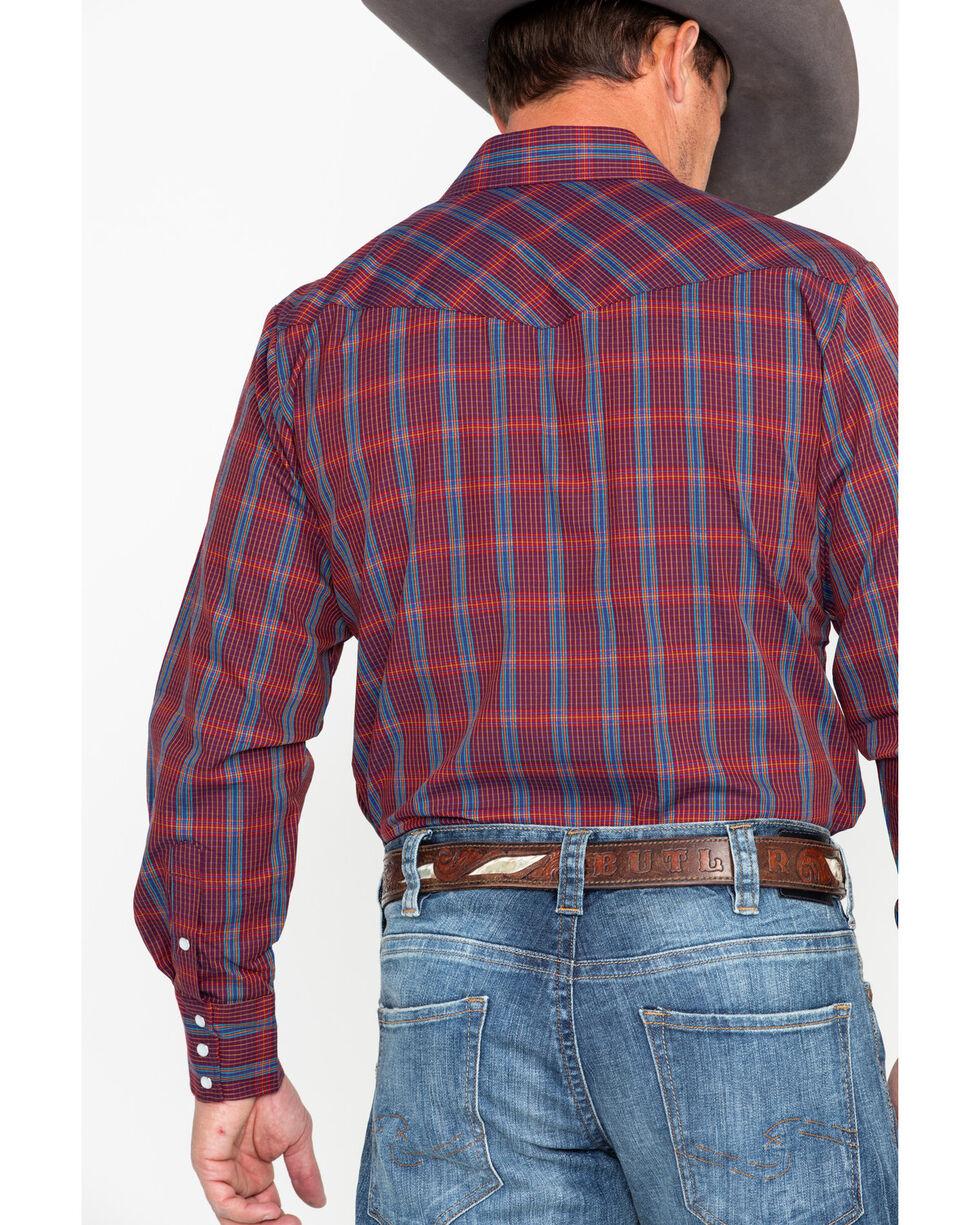 Roper Men's Wine Medium Plaid Long Sleeve Western Shirt, Wine, hi-res