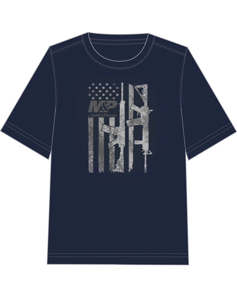 M&P by Smith & Wesson Men's Gun Flag T-Shirt, Navy, hi-res
