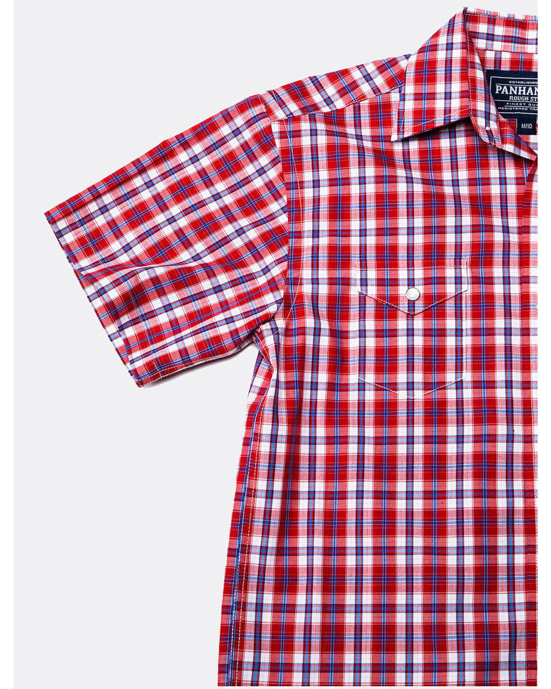 Panhandle Boys' Rough Stock Buckner Vintage Plaid Short Sleeve Western Shirt , Red, hi-res