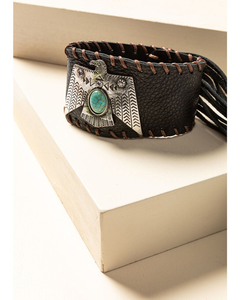 Idyllwind Women's Thunderbird Leather Cuff Bracelet, Brown, hi-res