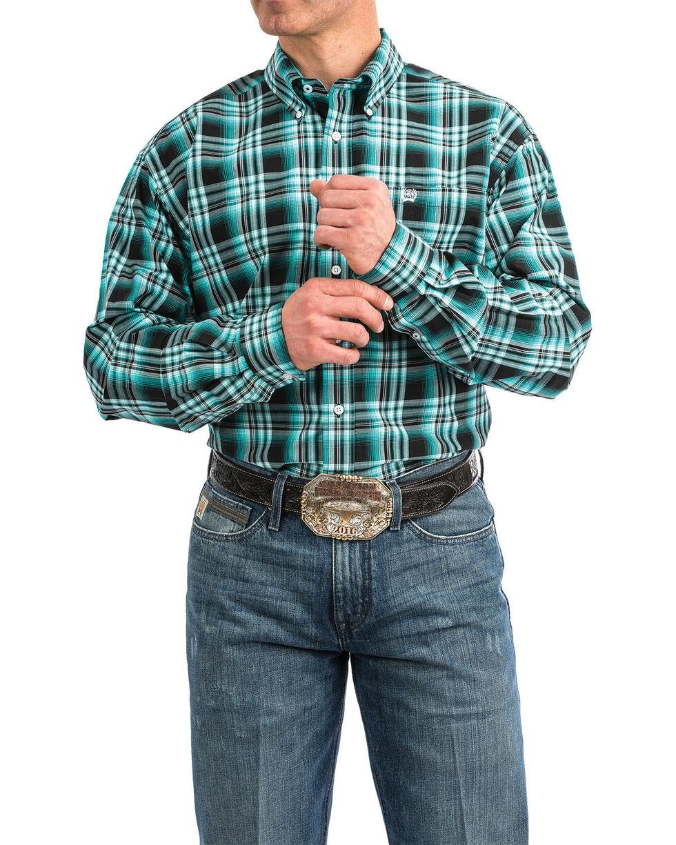 Cinch Men's Black Plaid Long Sleeve Western Shirt - Big , Black, hi-res