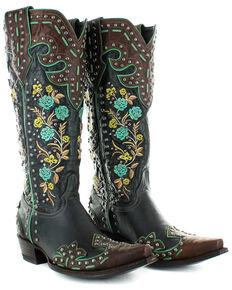 Old Gringo Women's Round Up Rosie Western Boots - Snip Toe, Brown/blue, hi-res