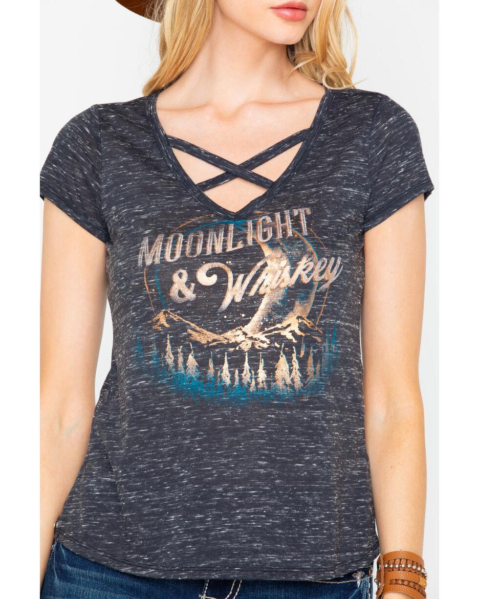 Shyanne Women's Moonlight & Whiskey Foil Cross Front Tee , Black, hi-res