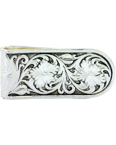 Montana Silversmiths Leather Patterned Embossed Money Clip, Silver, hi-res