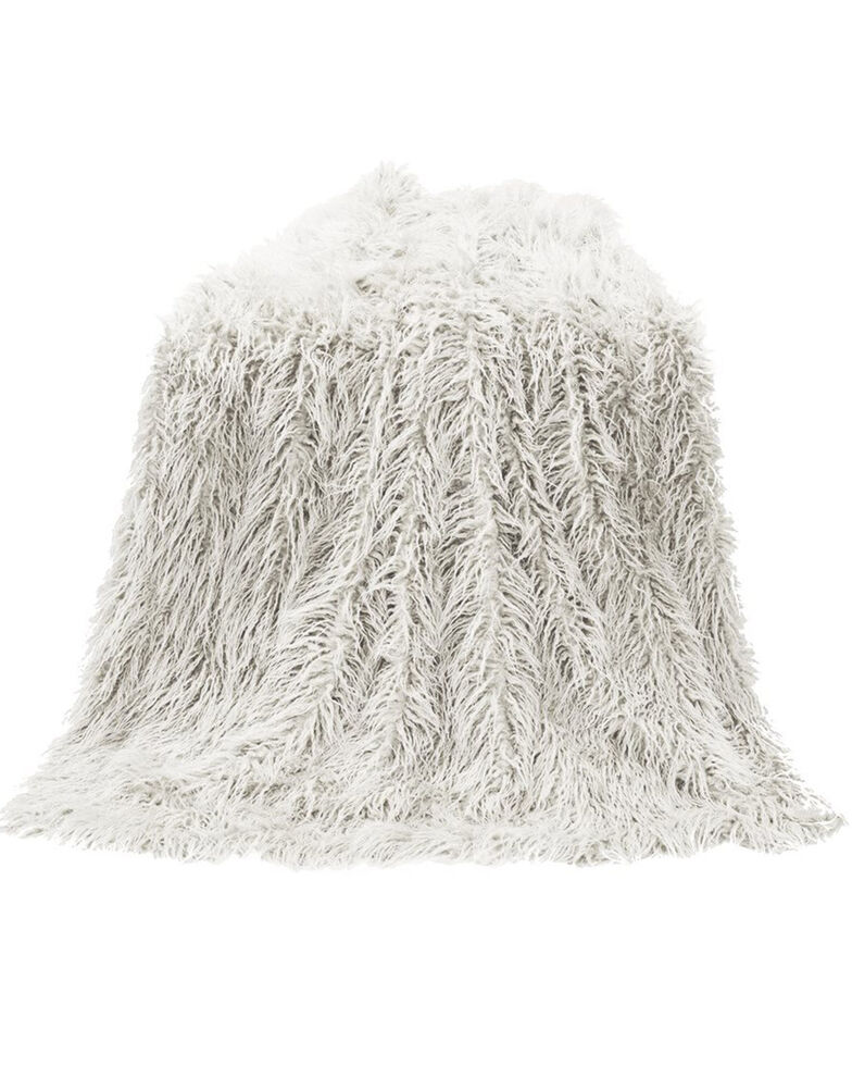 HiEnd Accents Mongolian Faux Fur Throw Blanket, White, hi-res