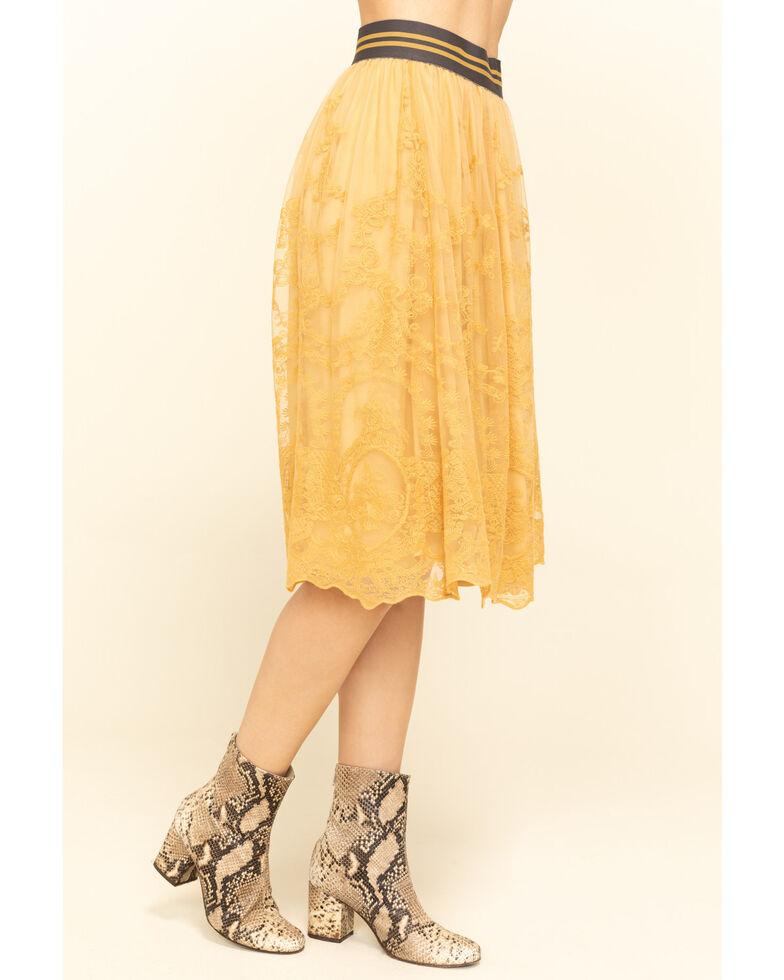Ariat Women's Mustard Lace Midi Stevie Skirt , Mustard, hi-res