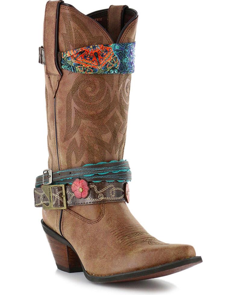Durango Women's Crush Accessorized Western Fashion Boots, Brown, hi-res