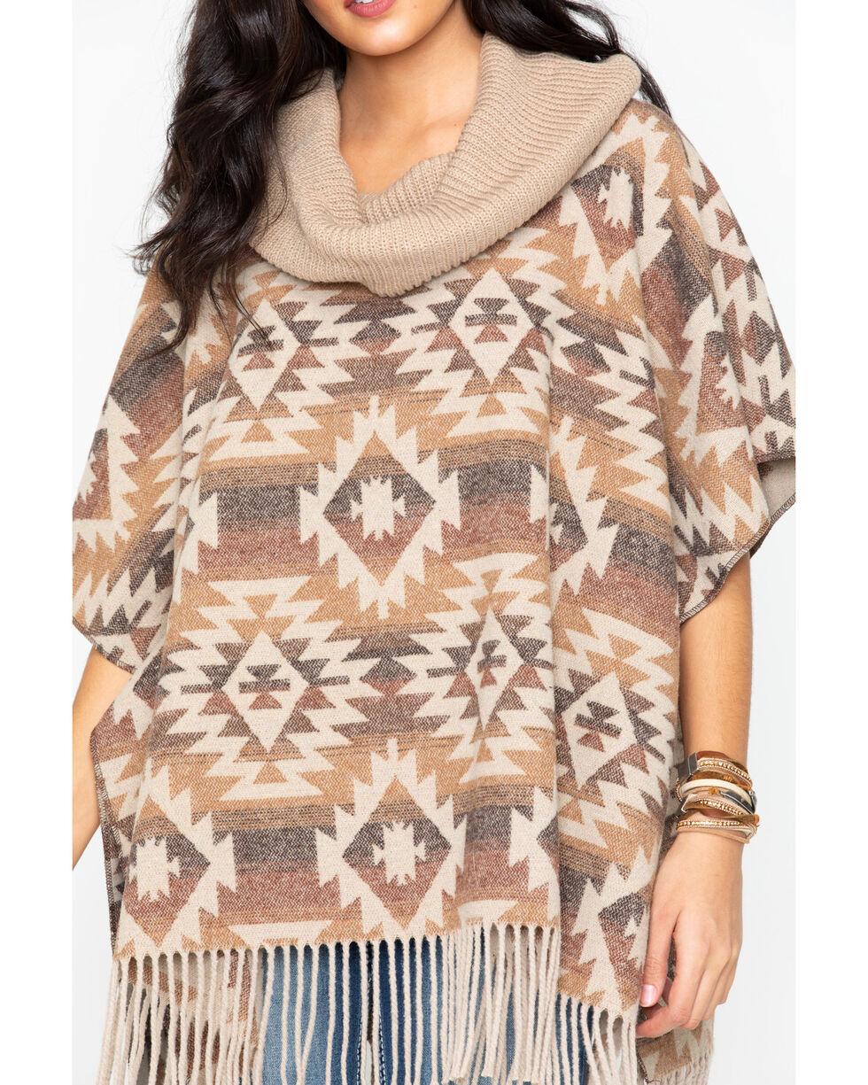 Cripple Creek Women's Aztec Navajo Blanket Fringe Cowl Poncho , Multi, hi-res