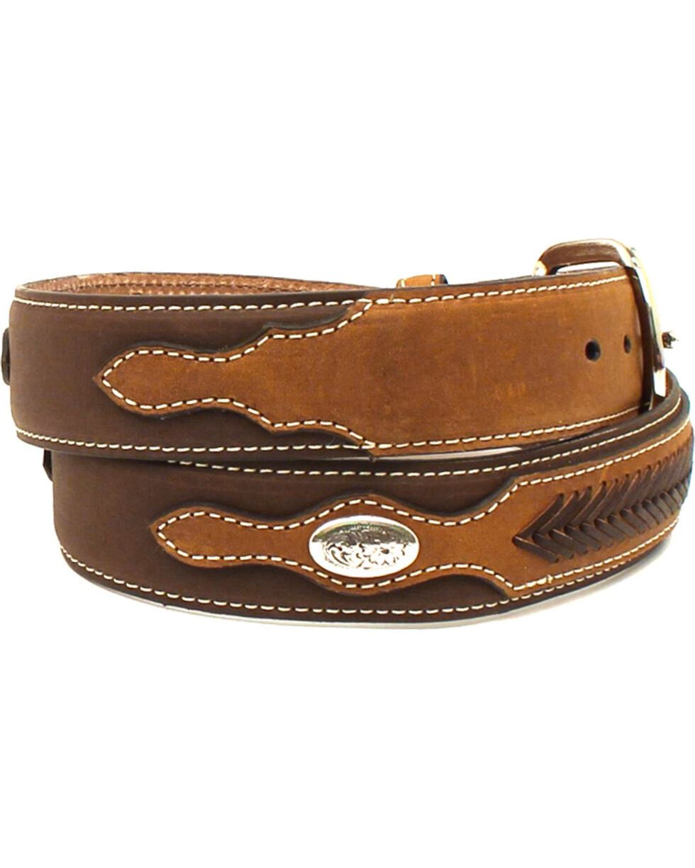 Nocona Men's Laced Overlay Conchos Belt , Brown, hi-res