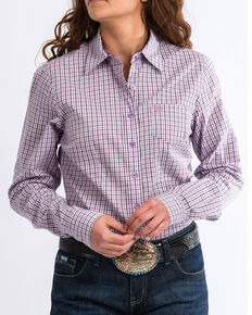 4dcb9a95 Cinch Women's Western Core Multi-Plaid Long Sleeve Button Down Shirt