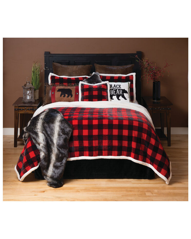 Carstens Home Red Lumberjack Buffalo Plaid 3-Piece Sherpa Fleece Bedding Set - Twin Size, Red, hi-res