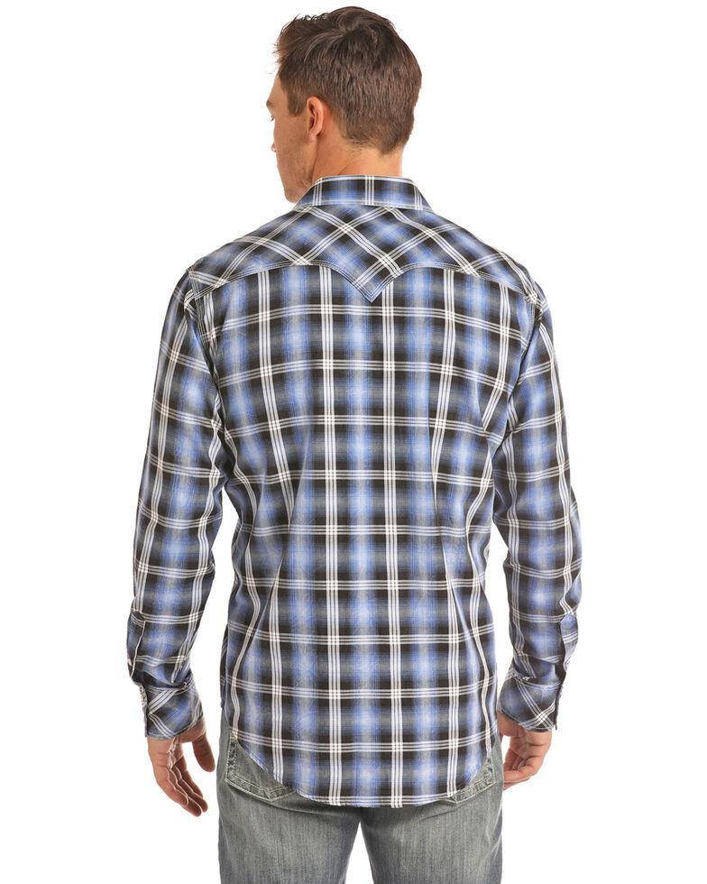 Rock & Roll Cowboy Men's Blue Large Crinkle Plaid Long Sleeve Western Shirt - Big , Blue, hi-res